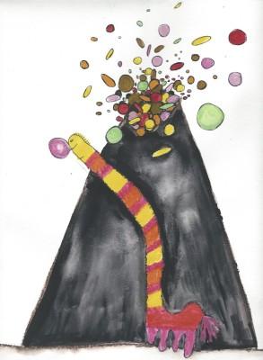 """""""Eg elske godteri"""" er tittelen på denne tegningen i L.O.V.E.-prosjektet fra DKS i Oppland. Kunstneren Monica Marcella Kjærstad bearbeider tegningene til trykksaker og scenografi foran operaforestillingen i mai."""